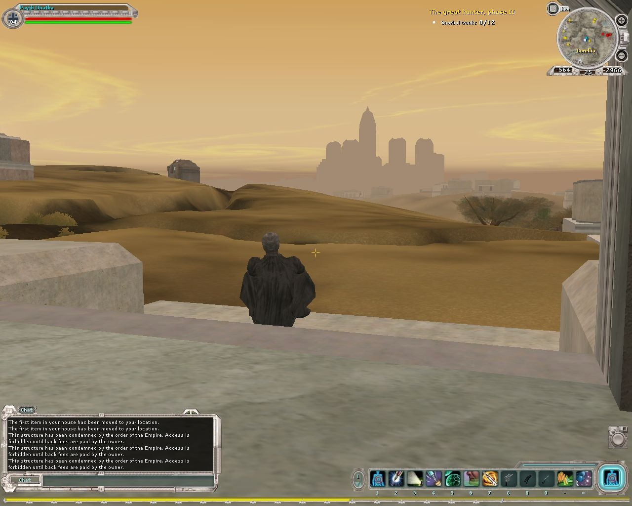 Star Wars: Galaxies - The Complete Online Adventures Windows Post-NGE doctor's interface. Coronet in the distance. (Bria server)