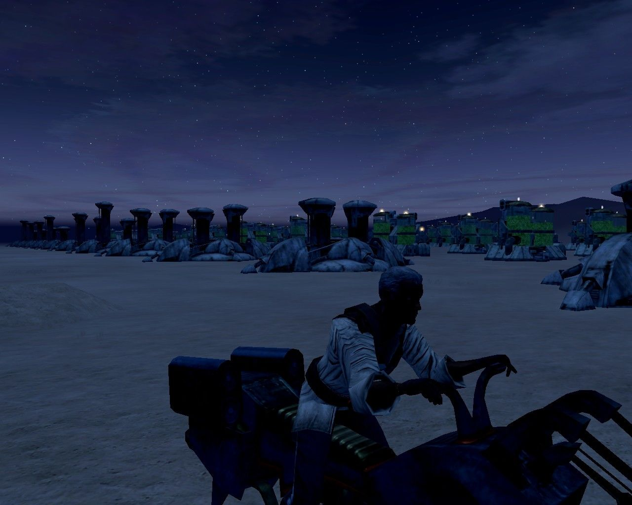 Star Wars: Galaxies - An Empire Divided Windows Massive mining/harvesting operation on the flats of Tatooine, all player owned and operated. These kinds (and size) of farms were actually required to keep up with player resource demands.