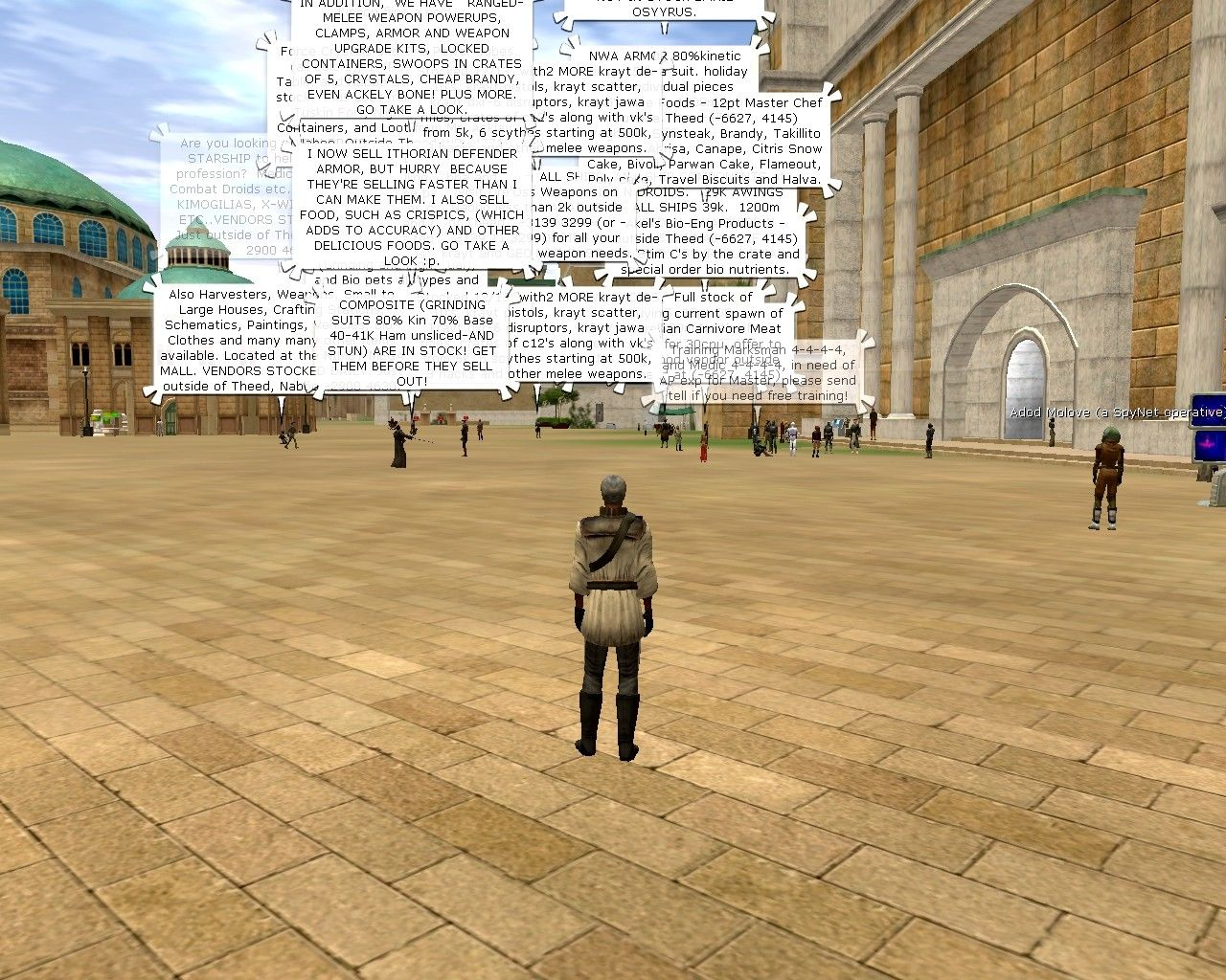 Star Wars: Galaxies - An Empire Divided Windows That famous Bria chat spam!  Outside the spaceport on Theed, Naboo.