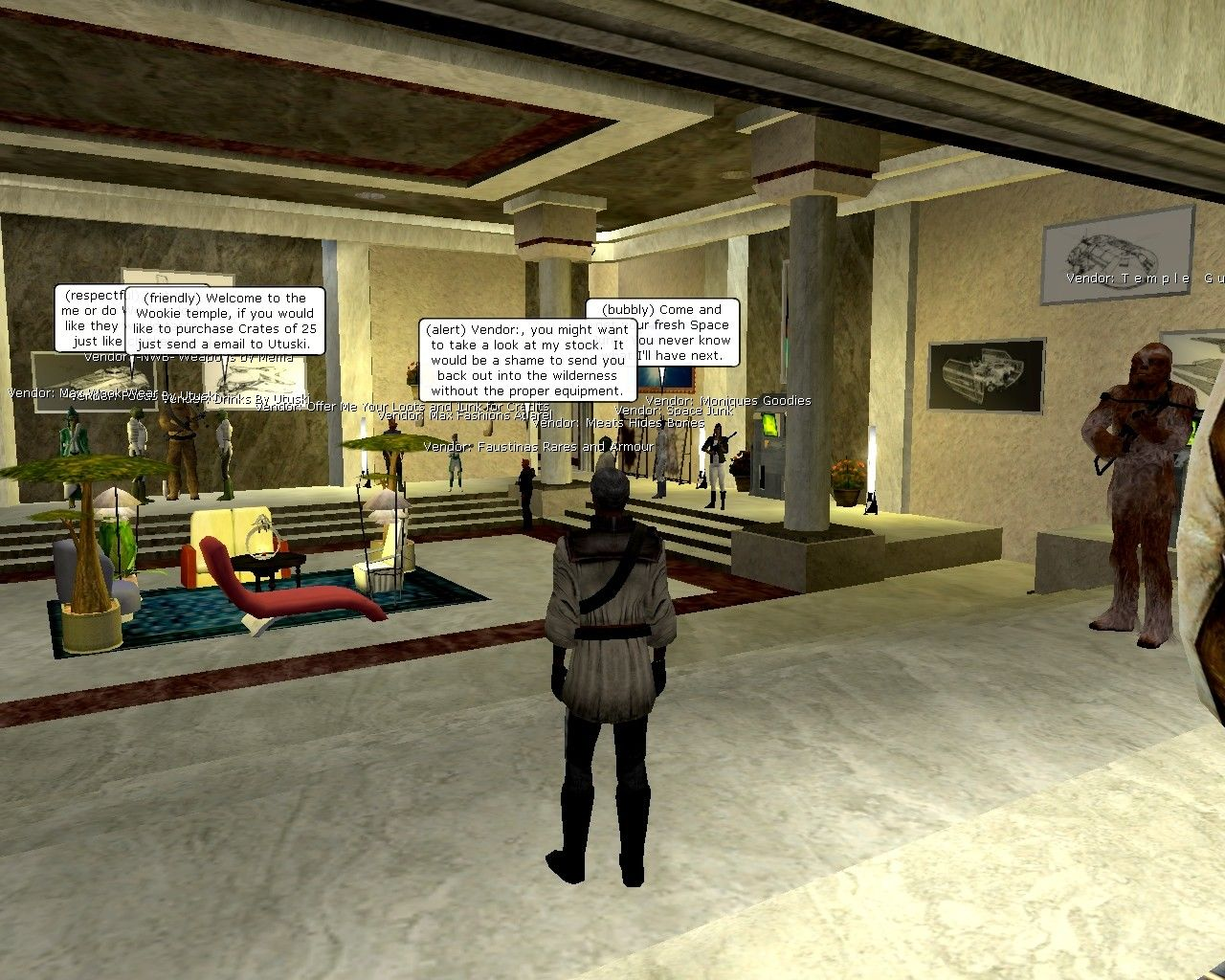 Star Wars: Galaxies - An Empire Divided Windows A city mall at the height of the game's popularity. Vendors are player-placed, selling crafted goods in a common, shared space.