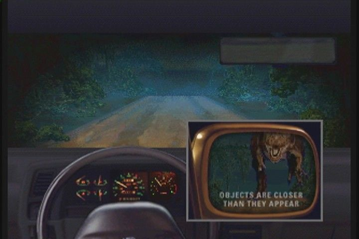 "Jurassic Park Interactive 3DO ""T-Rex"" chase has you trying to outrun the Tyrannosaur."