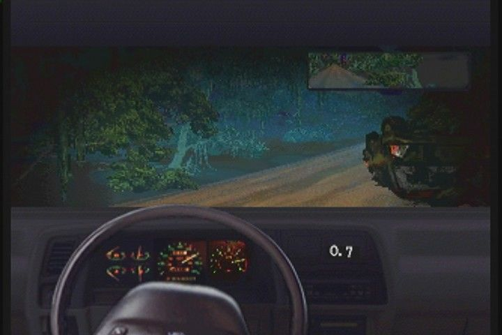 Jurassic Park Interactive 3DO Hitting road hazards allows the T-Rex to catch up.