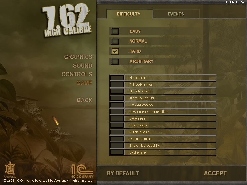7.62 Windows You can set the difficulty level according to taste.
