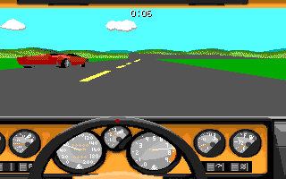 Stunts Amiga Driving against another opponent in a Lamborghini Countach.
