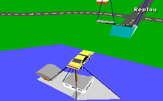 Stunts Amiga Flying over a boat with my yellow Carrera 4.