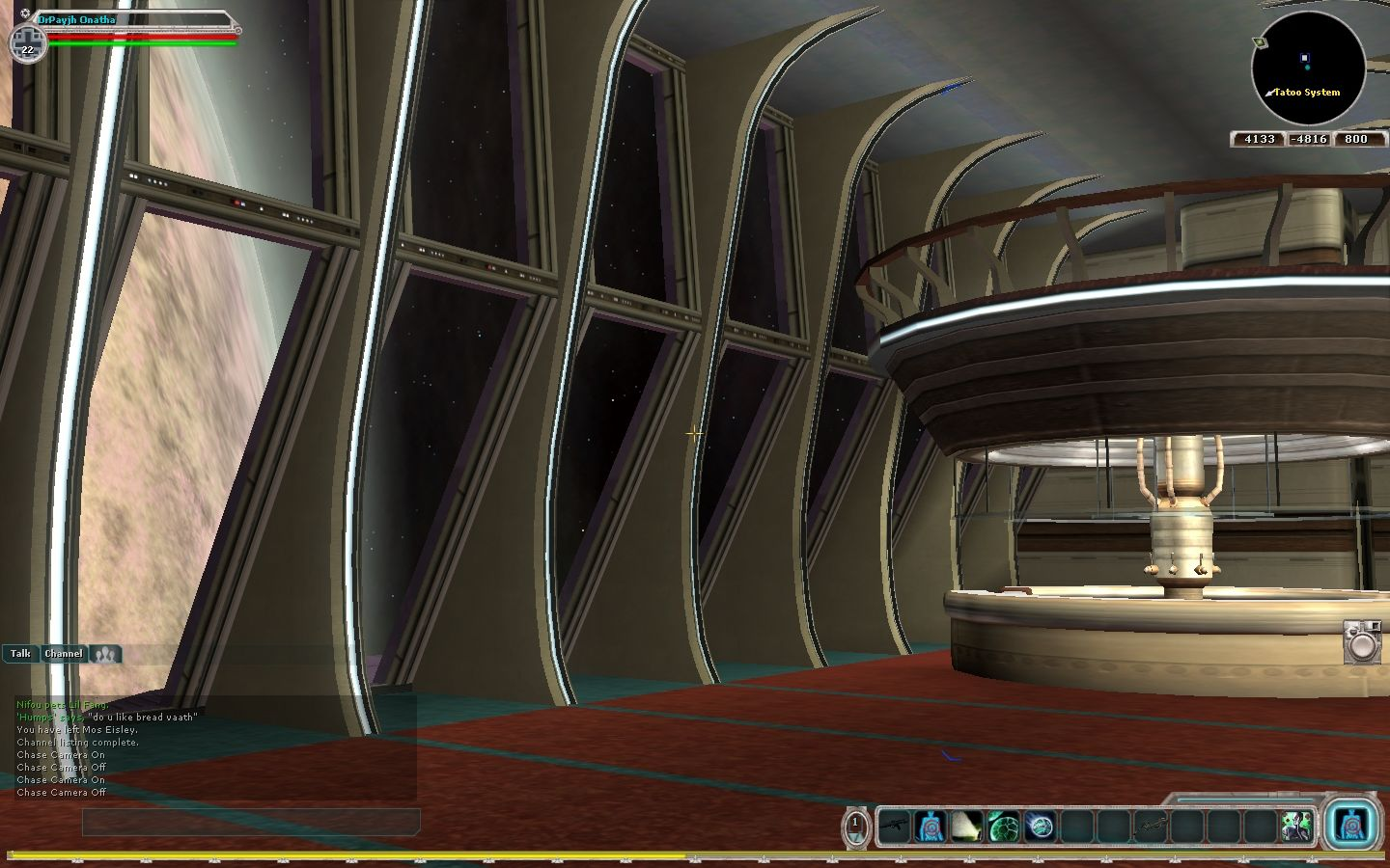 Star Wars: Galaxies - Jump to Lightspeed Windows Yacht interior. Tatooine rolls by outside.