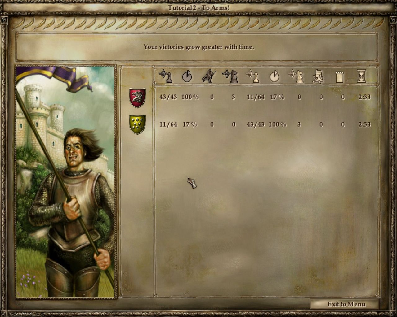 Lords of the Realm III Windows Victory in Battle Screen