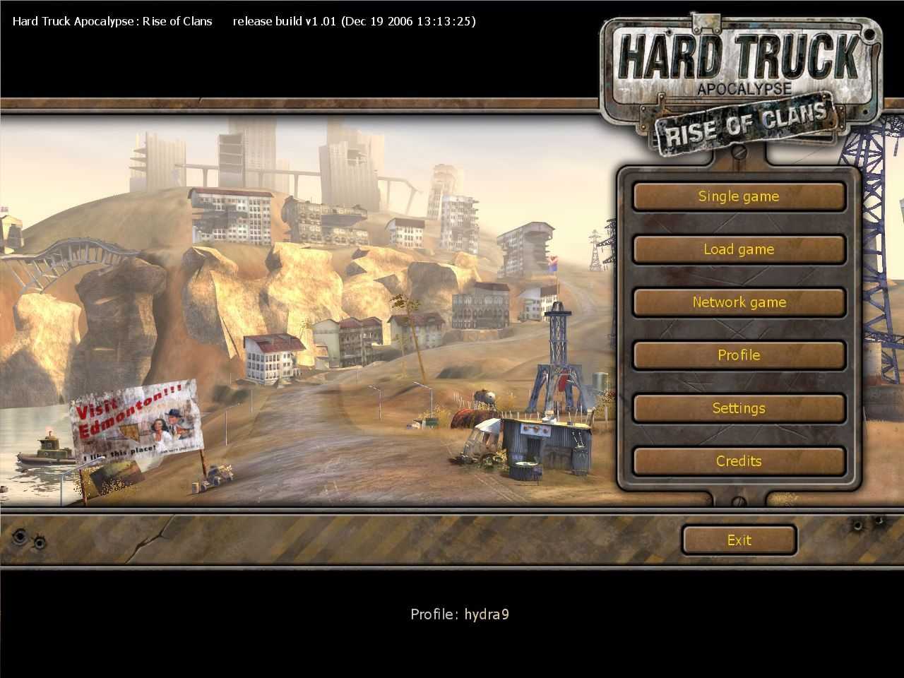 Hard Truck: Apocalypse - Rise of Clans Windows Main menu