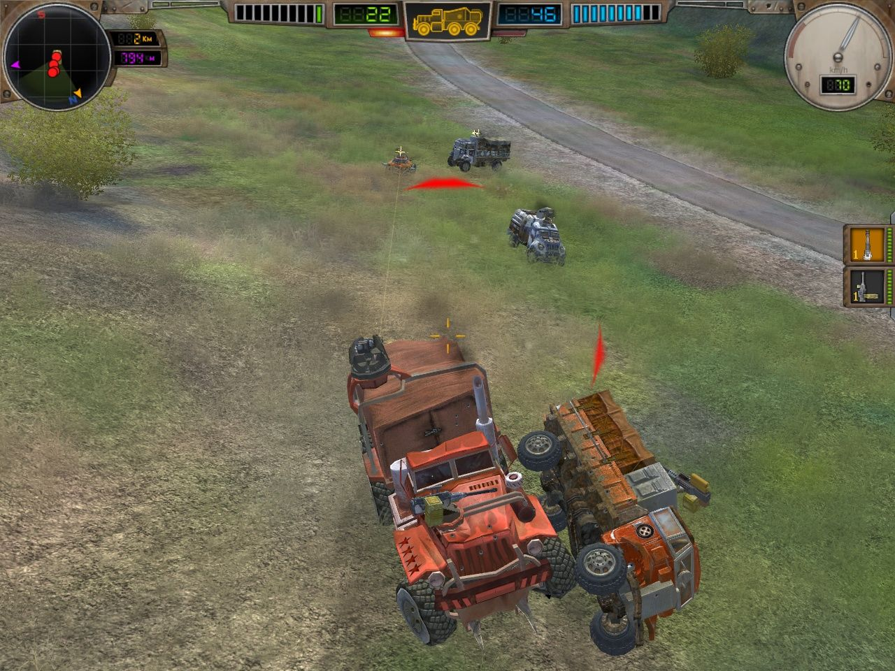 Hard Truck: Apocalypse - Rise of Clans Windows Combat against multiple opponents. Bashing someone out of the way is often the best tactic.
