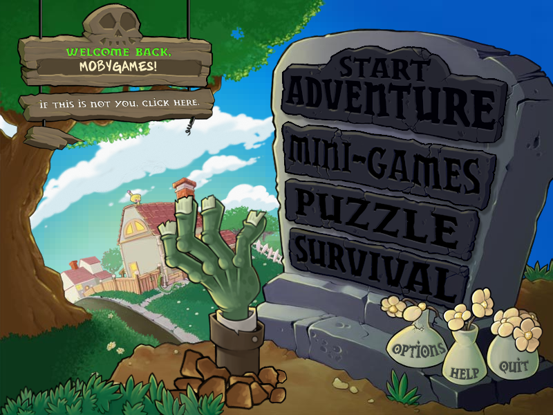 Plants vs. Zombies Windows Main menu