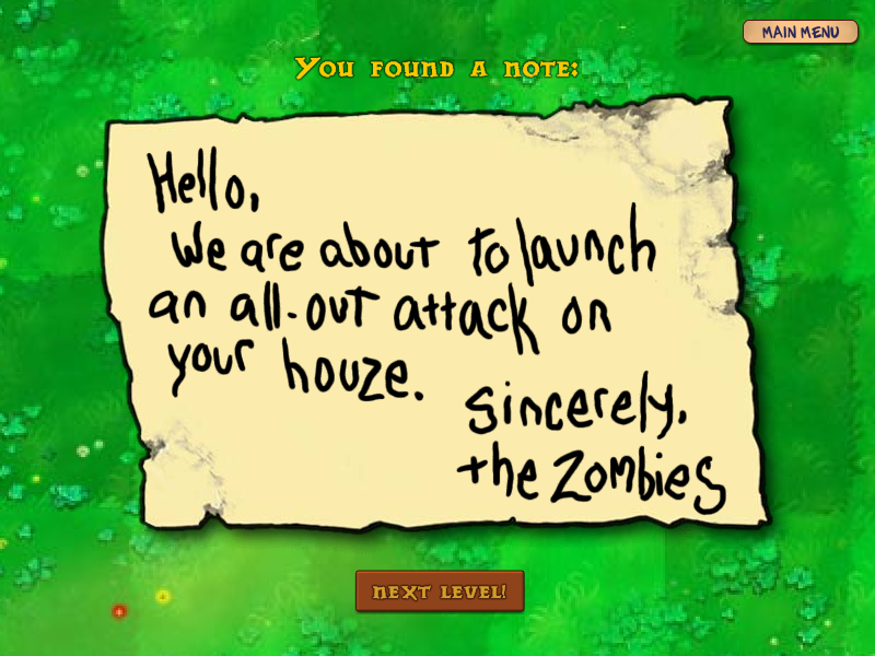 Plants vs. Zombies Windows Zombie note