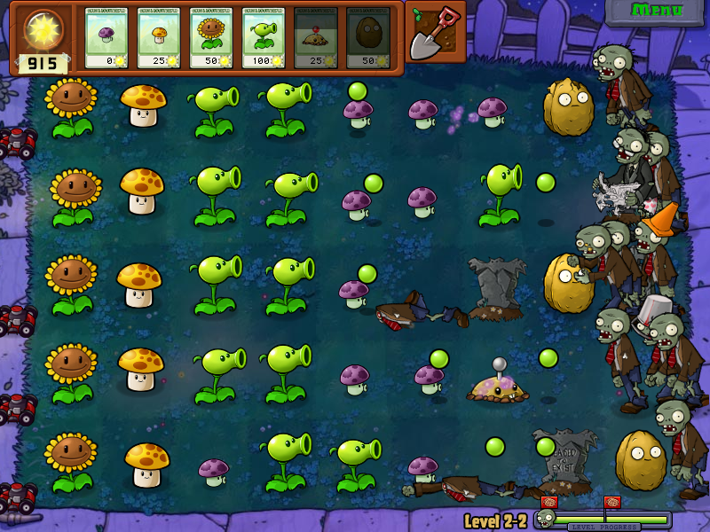 Plants vs. Zombies Windows In the night levels, only the sunflowers and mushrooms provide power.