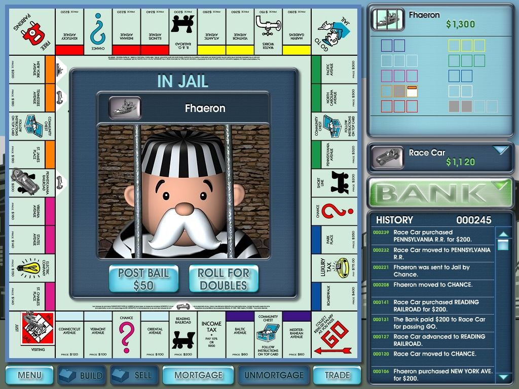 Monopoly 2008 Windows You got two options, pay or roll for doubles.