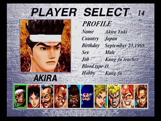 Virtua Fighter 2 SEGA Saturn Character Selection