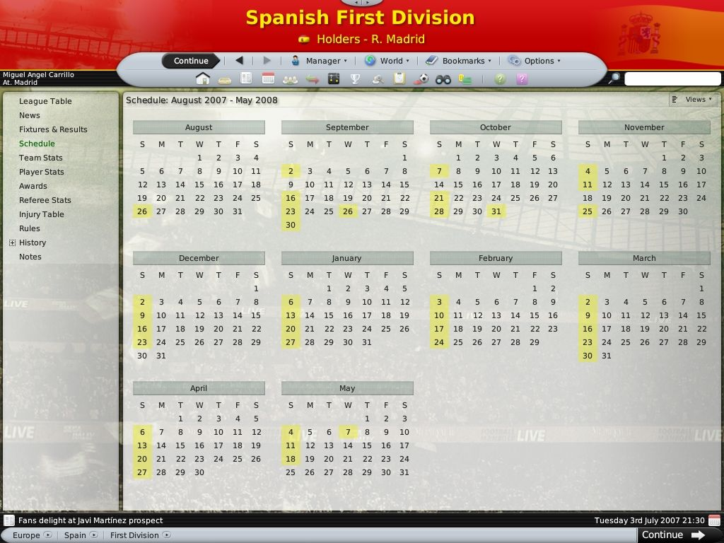 Worldwide Soccer Manager 2008 Windows Season schedule