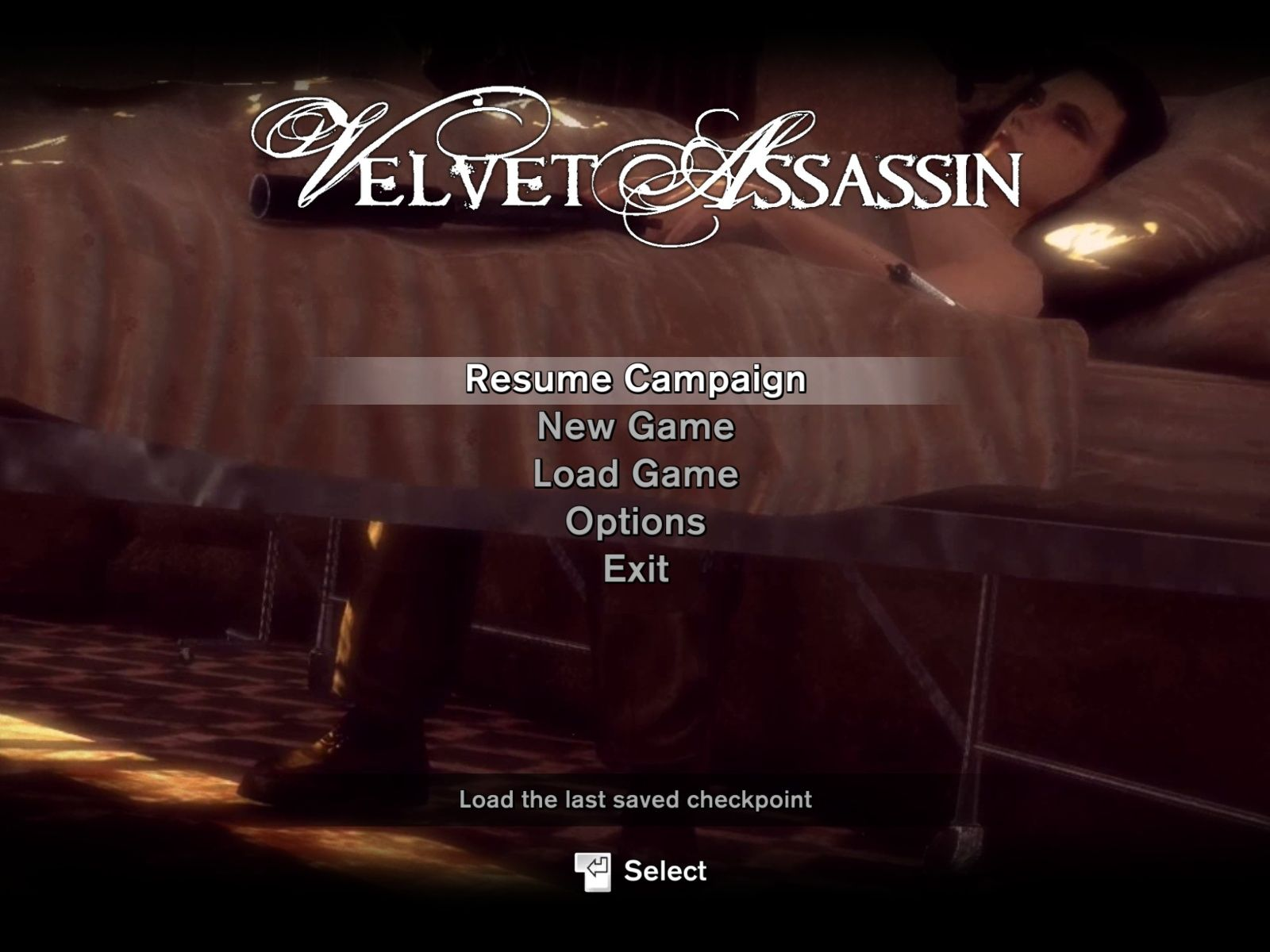 Velvet Assassin Windows Main Menu