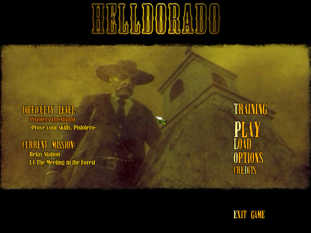 Helldorado Windows Title Screen and main menu
