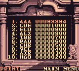 Magical Drop III Game Boy Color The high scores