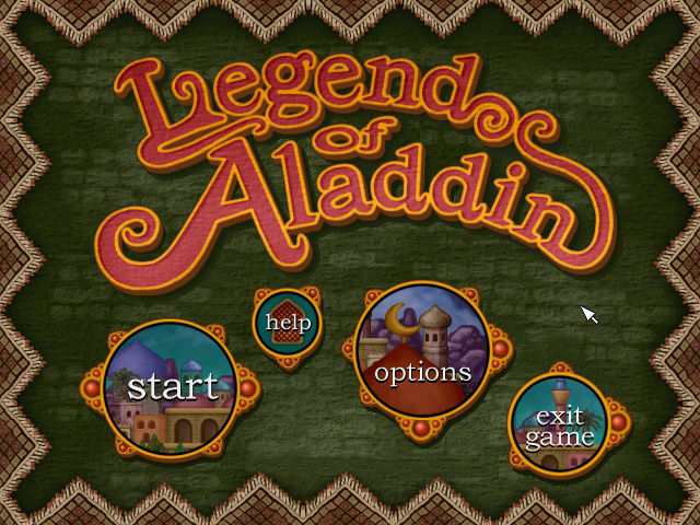 Legend of Aladdin Windows Title screen and main menu