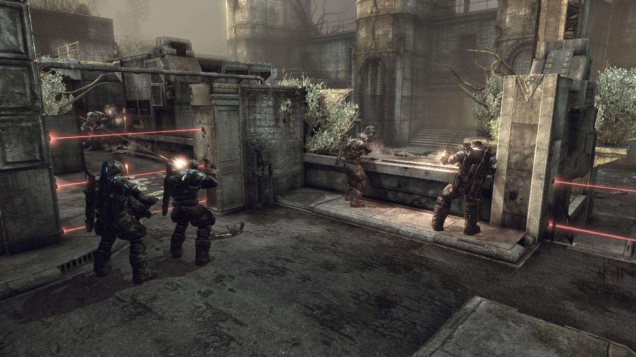 "Gears of War 2 Xbox 360 Playing a multiplayer Horde match on the ""Security"" map."