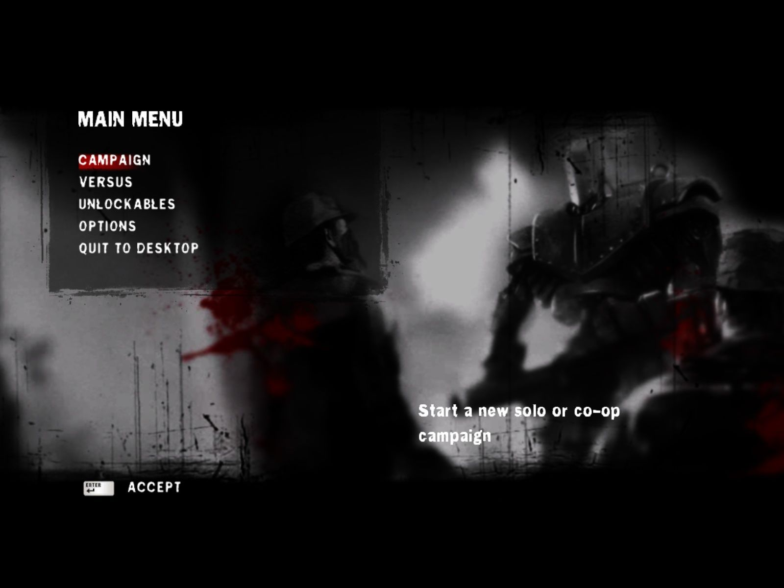 Damnation Windows Main Menu