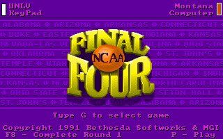 NCAA: Road to the Final Four DOS Title Screen and Main Menu
