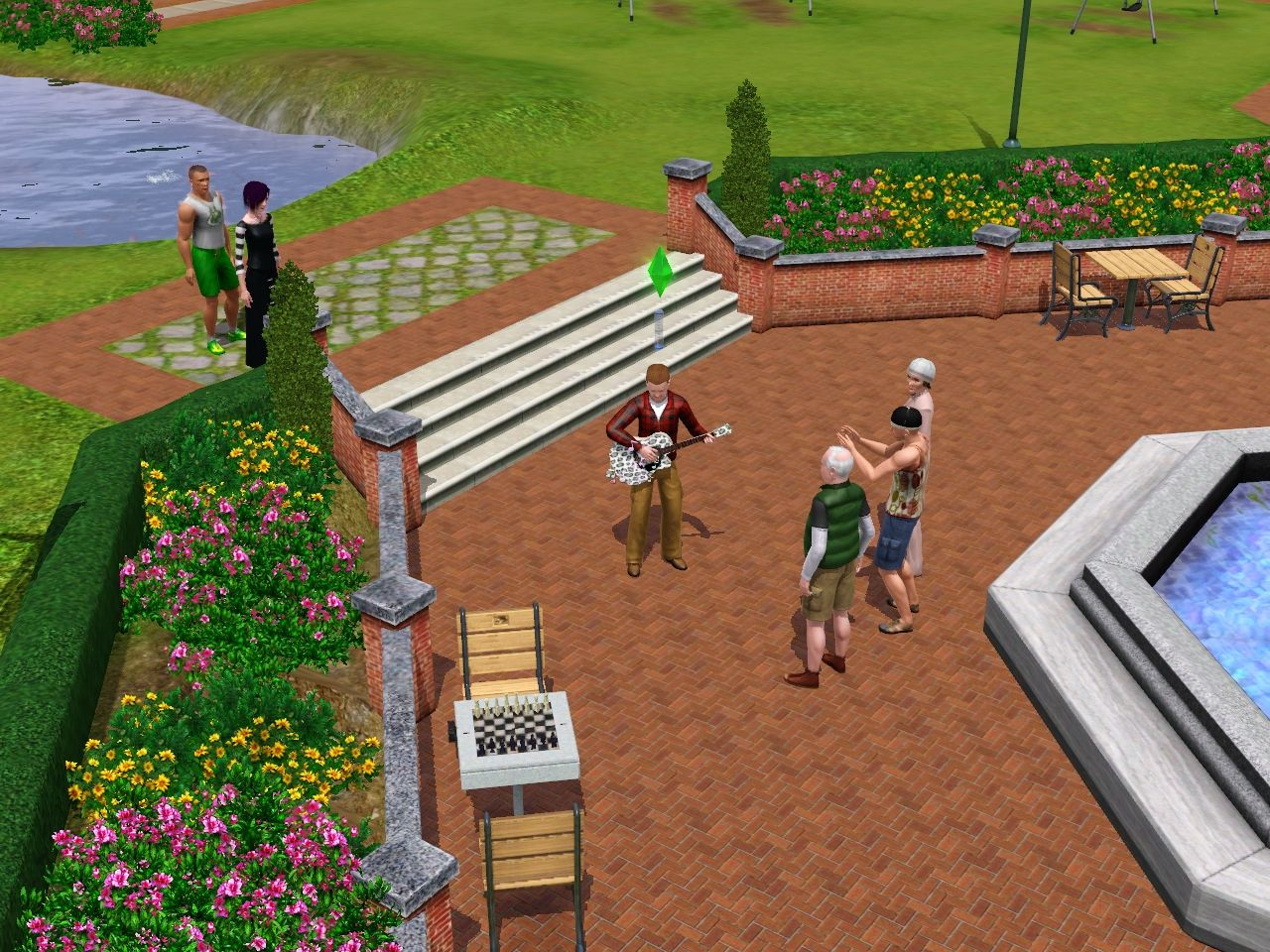 The Sims 3 Windows Entertaining some random people in the park to get my skill up.