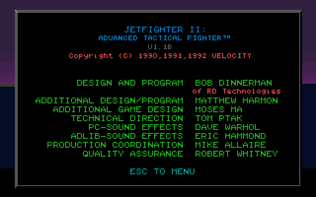 JetFighter II: Advanced Tactical Fighter DOS Credits