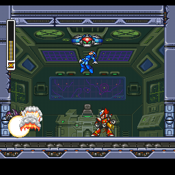 Mega Man X3 PlayStation Blowing the first mini-boss to pieces.
