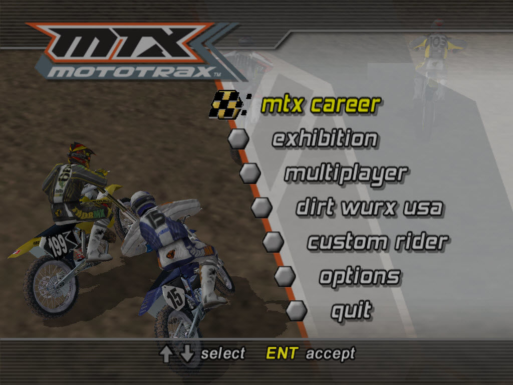 MTX Mototrax Windows Title and main menu screen