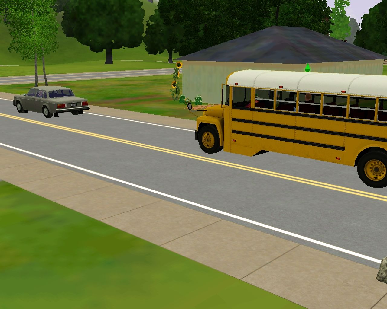 The Sims 3 Windows School bus sitting outside to take the youngsters to school.