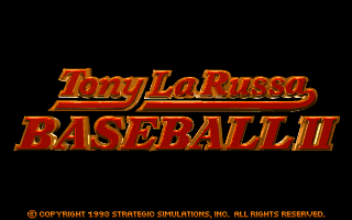 Tony La Russa Baseball II DOS Title screen.