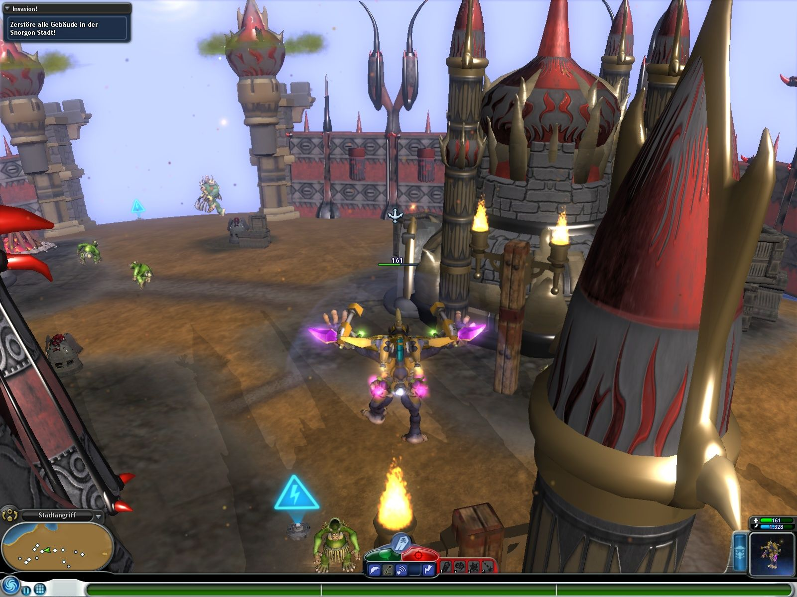 Spore: Galactic Adventures Windows Attacking Snorgon City.