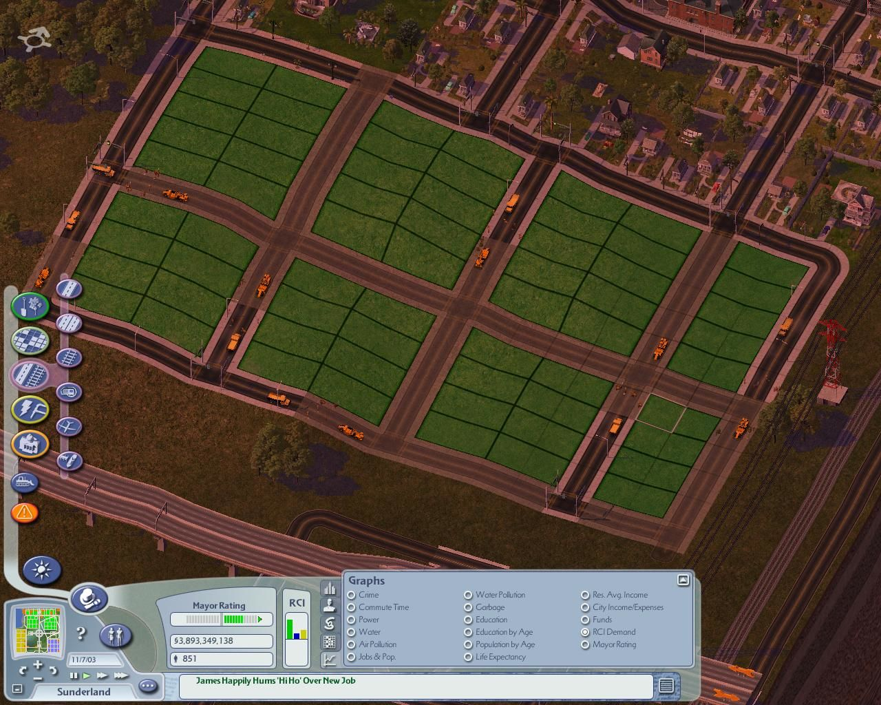 SimCity 4 Windows Here you can see construction crews laying the roads for the new zone.