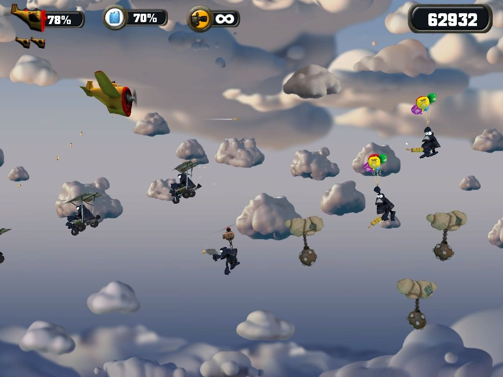 Crazy Chicken: Approaching Windows Over the clouds now, and there are enemies everywhere.