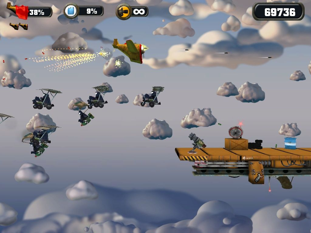 Crazy Chicken: Approaching Windows Deadly platforms armed with cannons.