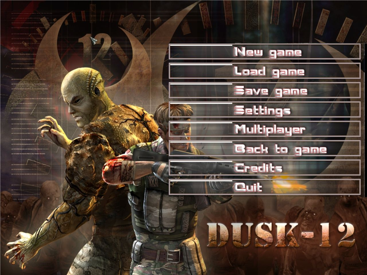 Dusk-12: Deadly Zone Windows Main menu