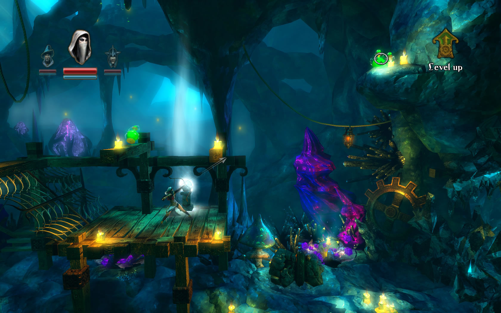 Trine Windows Zoya aims for the potions on the higher ledge.