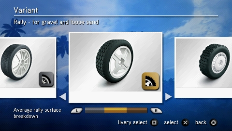 SEGA Rally Revo PSP Choosing a set of tires.