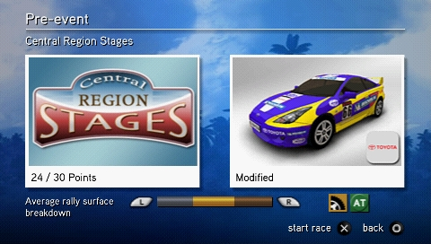 SEGA Rally Revo PSP Final overview of settings before race start