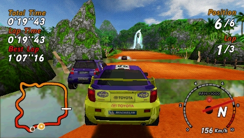 SEGA Rally Revo PSP Rally: jumping over a water obstacle.