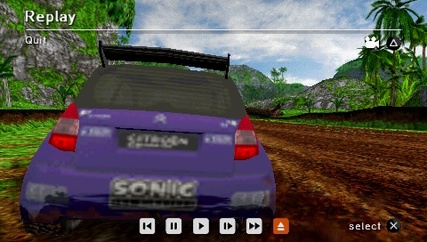 SEGA Rally Revo PSP Rally: attacking the Sonic Citroen 2/3 (Replay).