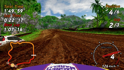 SEGA Rally Revo PSP Rally: view across the hood