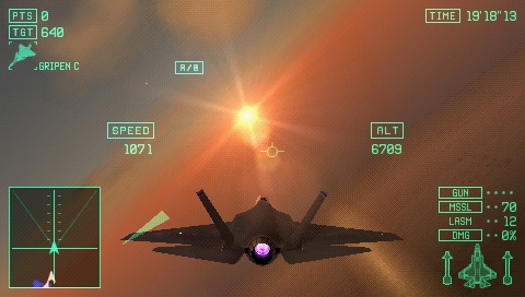 Ace Combat X: Skies of Deception PSP Into the sun