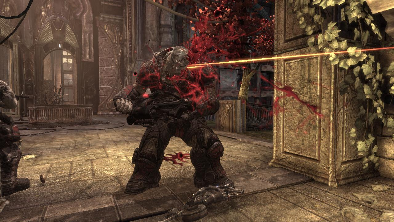 Gears of War 2 Xbox 360 Several well placed shots are needed to kill a big enemy like this Grinder.