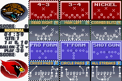 Madden NFL 2002 Game Boy Advance Madden 2002 features a generous number of formations and plays.