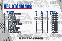 Madden NFL 2002 Game Boy Advance Check out how your favorite team is doing anytime during the season...