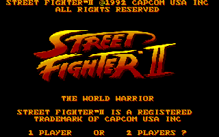 Street Fighter II Amiga Title screen