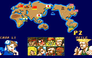 Street Fighter II Amiga Character selection screen