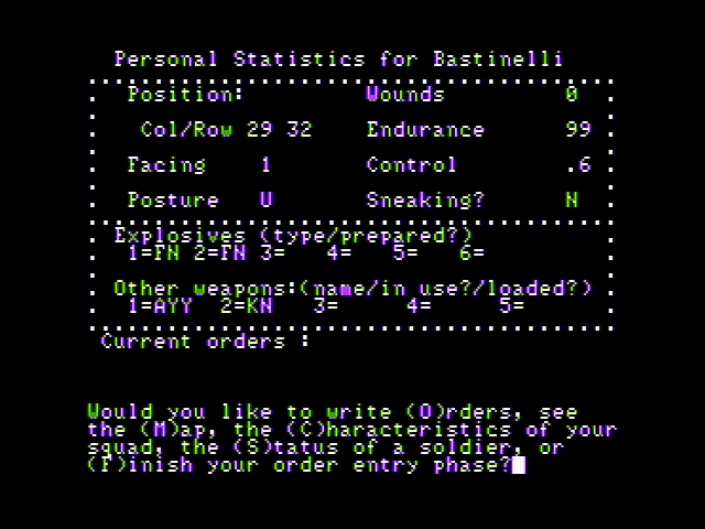 Computer Ambush Apple II Stats for one of your soldiers